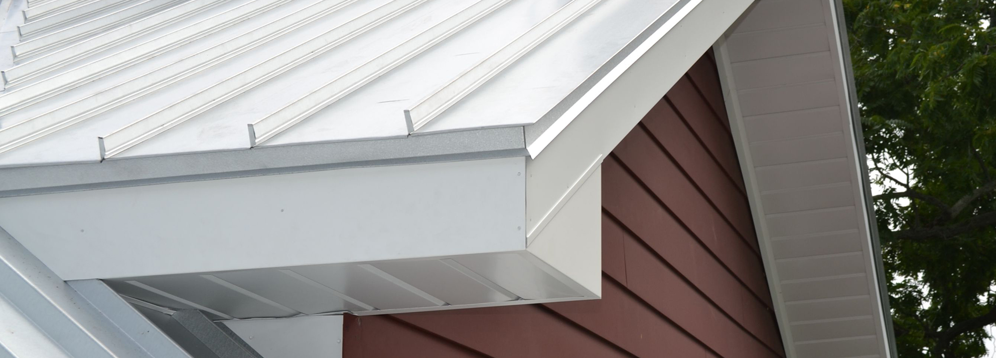 A photo of standing seam metal roofing.